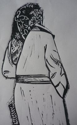 Rosario Arcos Gomez - linogravure - Femme de Ramallah -