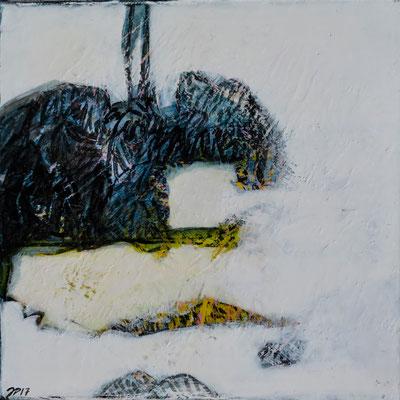 Jean-Pierre Plundr - citronde neige  - acrylique sur toile - 20x20cm- 2017