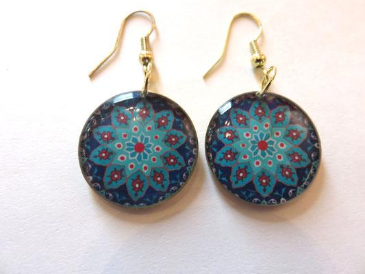 bijoux SIN - résine + impression sur laiton - ø  2cm