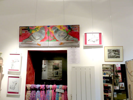 Marina Argentini , les deux pigeons, collage et peinture - MAB: 3 dessins