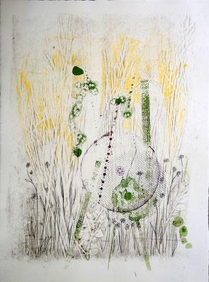 Dominique Berteletti - sérigraphie, gaufrage, dessin - Au soleil - 29x37cm
