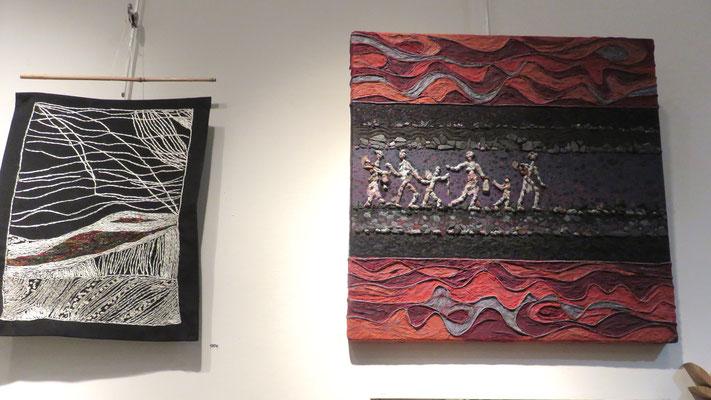 A droite : peinture de Françoise Trotabas -  A gauche  broderie de Hava Niknam