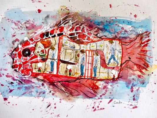 Jacques Cauda - Aquarelle sur papier et collage -  intérieur poisson rouge - 21x30 cm