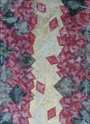 Alain Guillon - Mer Rouge, Terre Noire - n°2 22x16cm - 2017 - Technique mixte : feuille de cuivre doré, papiers de soie blanc et colorés, poudre de marbre, végétaux séchés , immortelles, vernis