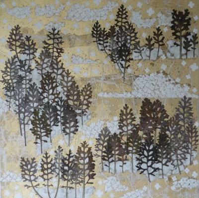 Alain Guillon - Voyage éthéré n°10 - 50x50cm - technique mixte, feuilles de cuivre doré, poudre de marbre, papier de soie, papier japonais, pigment coloré, végétaux séchés, vernis.