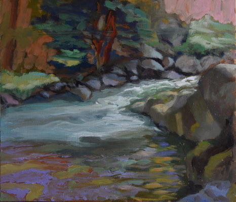 Delphine Germain - peinture - La vallée de l'auverzere - huile sur bois - 25x22cm - 2021