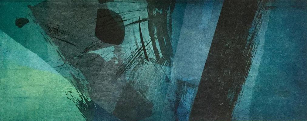 Vendu -Marie -Clémentine Marès - graveur /plasticienne - Aquatinte imprimée sur chine appliquée et marouflée sur BFK Rives 40x50cm -  format gravure 16X40cm -    Tirage unique - aux senteurs d'oliban II.