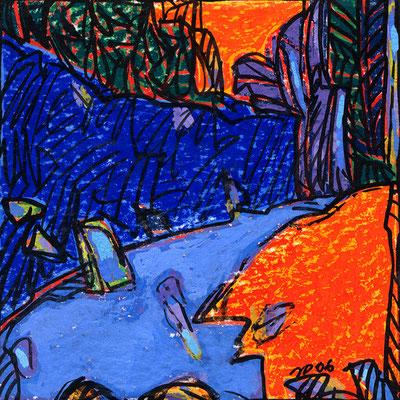 Jean-Pierre Plundr - vignette DC- gouache sur papier - 9x9 cm - 2005