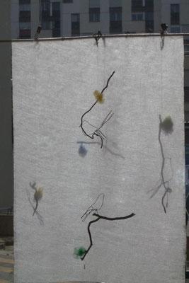 Nenuphar bijoux - oiseau en fil de fer + branche de saule tortueux -