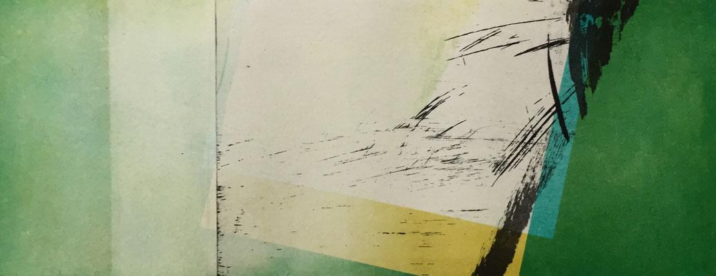 Vendu - Marie -Clémentine Marès - graveur /plasticienne - Aquatinte imprimée sur chine appliquée et marouflée sur BFK Rives 40x50cm -  Format gravure 16X40cm -  Tirage unique - Au bruissement des futaies I