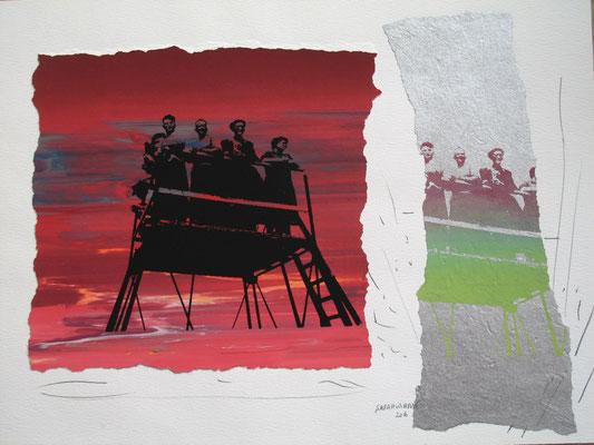 Sarah Wiame - Sérigraphie, - Ponton, 30x40cm, encres, sérigraphie, collage, crayons