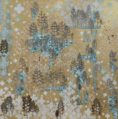 Alain Guillon - Voyage éthéré n°5 - 60x60cm - Papier de soie - papier japonais - papier murier - pigment coloré -végétaux séchés poudre de marbre - feuille de cuivre dorée - vernis