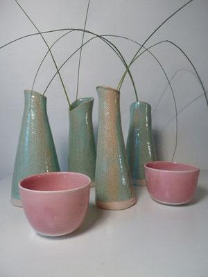 Sophie Gallé-Soas - céramique - vase vert céladon  - petit bol rose