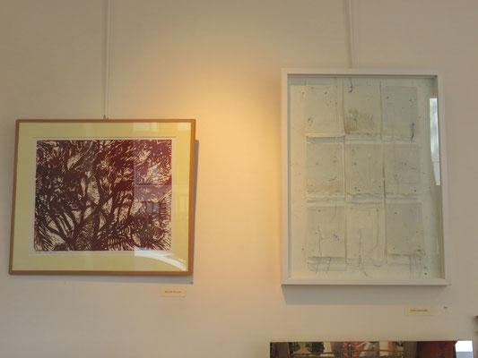 Odile stemmelin : papier , fil - Michelle Boucard : lino  gravure