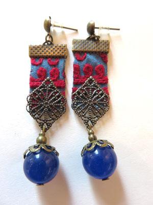 MIM - Boucle d'oreille - ancienne broderie du Baloutchistan ou  Turkmenistan