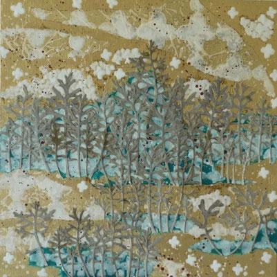Alain Guillon -  petit voyage éthéré n° 30 - 30x30cm - technique mixte, feuilles de cuivre doré, poudre de marbre, papier de soie, papier japonais, papier murier, pigment coloré, végétaux séchés, vernis.
