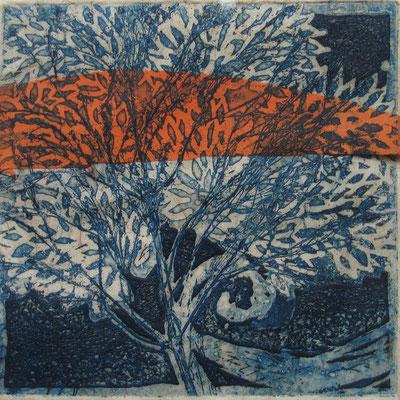 Isabelle Dansin- gravure - Arbre de vie bleu (bande orange) - 15x15cm