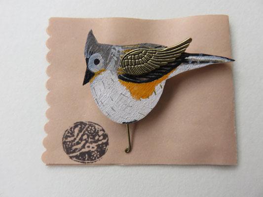 Shahrzad Haeri - broche oiseau - bois et peinture