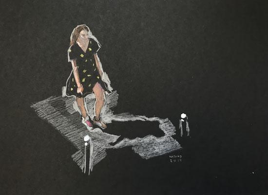 Mehrzad Najand- technique mixte sur papier noir -   La robe noire -  2019