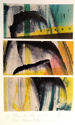 Marie -Clémentine Marès - graveur /plasticienne - 3 monotypes - Faire de l'arc en ciel une démonstration d'innocence -  230 euros
