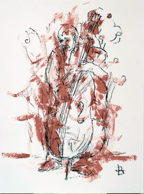 "Laurent Besson - monotype - "" contrebassiste brun """