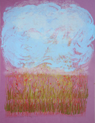Dominique Berteletti - sérigraphie et dessin sur papier - Entre ciel et terre- 50x70cm