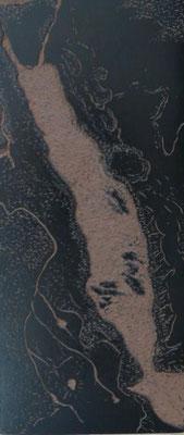 Michelle Boucard -plaque de linogravure - Mer Rouge - 30x40cm - 2017