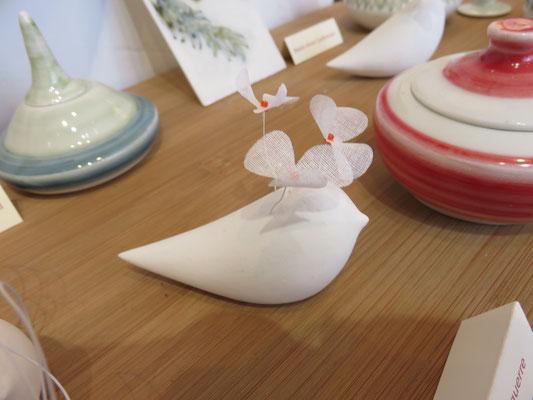 Oiseaux Fleurs en porcelaine froide de Laurence Aguerre