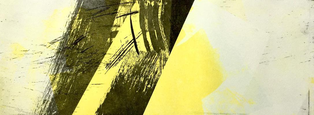 Marie -Clémentine Marès - graveur /plasticienne - Aquatinte imprimée sur chine appliquée et marouflée sur BFK Rives 40x50cm -  format gravure 16X40cm -    Tirage unique - l'air passe avec la lumière