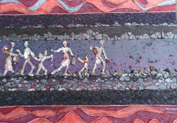 Françoise Trotabas - détail  Exode - 40x40cm -  peinture acrylique, ardoise, améthyste, bois, pépins de raisins, papiers japon, fil de fer papier , pigments