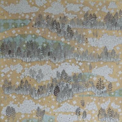 Alain Guillon - Voyage éthéré n°7 - 60x60cm - technique mixte, feuilles de cuivre doré, poudre de marbre, papier de soie, papier japonais, pigment coloré, végétaux séchés, vernis.