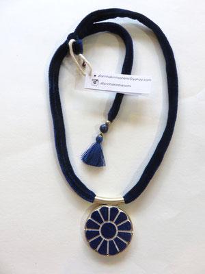 Afarine- collier en céramique gravé - laiton - ruban de velours