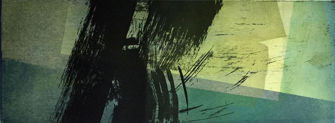 Marie -Clémentine Marès - graveur /plasticienne - Aquatinte imprimée sur chine appliquée et marouflée sur BFK Rives 40x50cm -  format gravure 16X40cm -    Tirage unique - au bruissement des futaiesIII