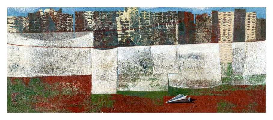 Soheila Niknam - L' espoir  - acrylique sur carton de bois -  36x15cm - 2017