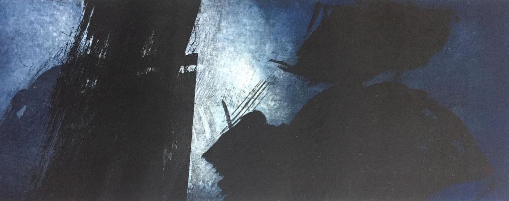 Marie -Clémentine Marès - graveur /plasticienne - Aquatinte imprimée sur chine appliquée et marouflée sur BFK Rives 40x50cm -  format gravure 16X40cm -    Tirage unique - dans les plis du vent II
