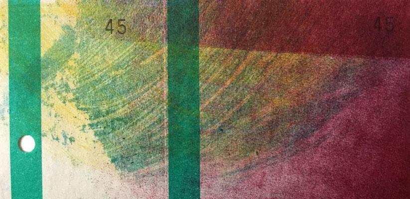 Marie -Clémentine Marès - graveur /plasticienne - Monotype - 5x15cm - encadré sous plexi - 15x10cm - 80 euros -