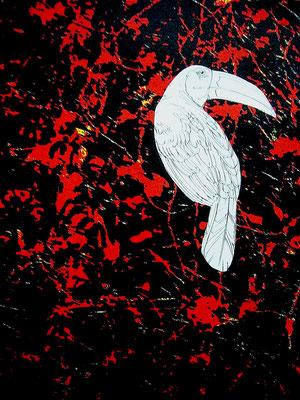 Jacques Cauda - Oiseau du Nil  - Technique mixte sur papier - 30x40cm -