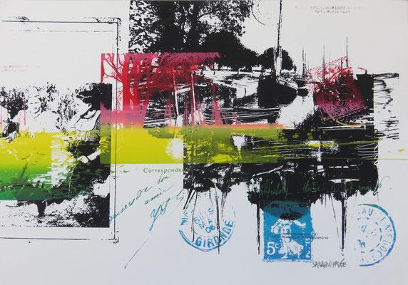 Sarah Wiame - Sérigraphie, - Port de St Christoly, 30X40cm, encres, sérigraphie