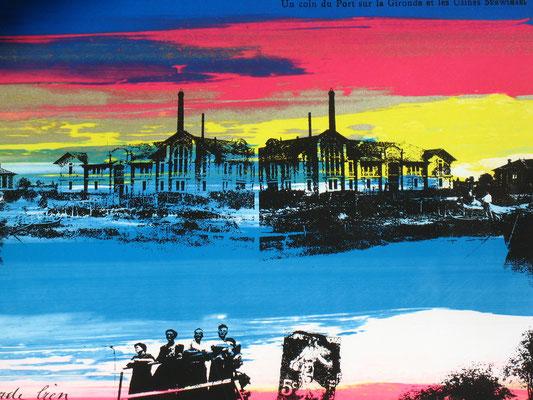 Sarah Wiame - Sérigraphie -  Vues sur le port de St Christoly de Médoc, 100x70cm, encres sérigraphies
