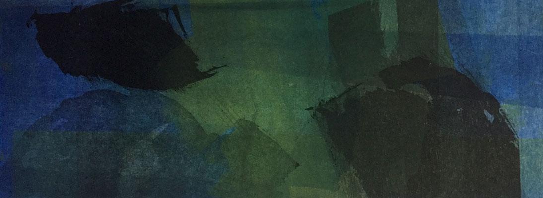 Marie -Clémentine Marès - graveur /plasticienne - Aquatinte imprimée sur chine appliquée et marouflée sur BFK Rives 40x50cm -  format gravure 16X40cm -    Tirage unique - d'ilots en archipels I