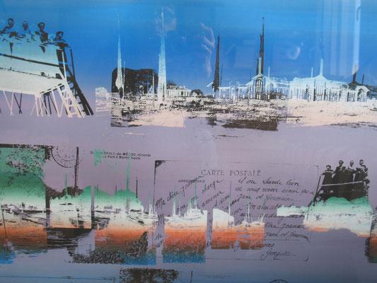 Sarah Wiame - Sérigraphie, - Vues sur le port de St Christoly de Médoc, 100x70cm, encres sérigraphies
