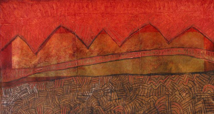 Agathe De Filippi - aux portes du desert - 46x27cm - peinture acrylique sur papier marouflé sur toile, collage,pastels