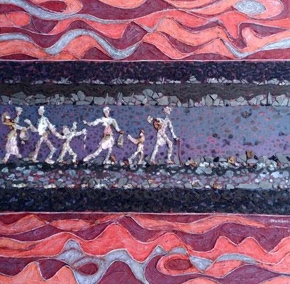 Françoise Trotabas - Exode - 40x40cm -  peinture acrylique, ardoise, améthyste, bois, pépins de raisins, papiers japon, fil de fer papier , pigments