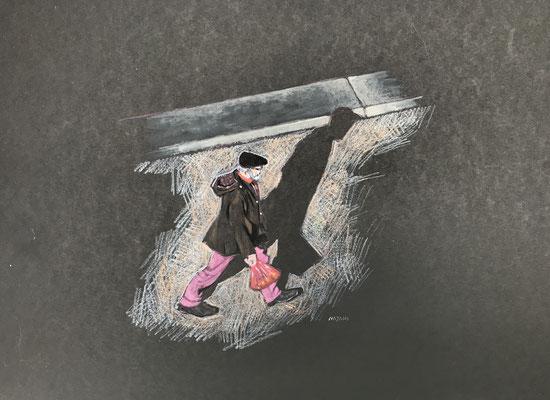 Mehrzad Najand- technique mixte sur papier noir - L'homme au pantalon rose -  2019