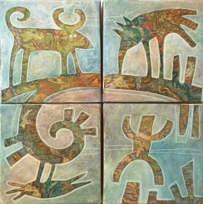 """Agathe De Filippi - """"Ainsi Va la Vie au Barthonien Supérieur""""  - peinture - quadriptyque- 4x  20x20cm"""