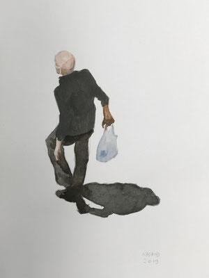 Mehrzad Najand- technique mixte sur papier blanc  -L'homme au sac plastique-  2019