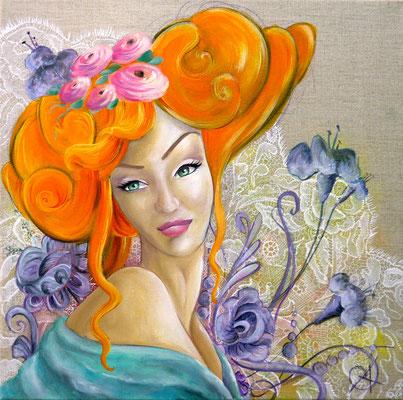 Louise huile sur toile 40x40cm, 2012 Disponible