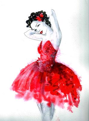 Commande personnalisée :danseuse rouge 30x40 cm Vendu