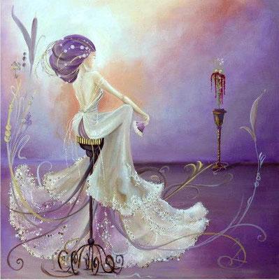 Valentine, huile sur toile 100x100cm,  2013 Disponible.