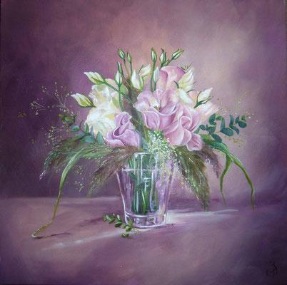 Bouquet de lysenthus, huile sur toile par Ida Polo 2013